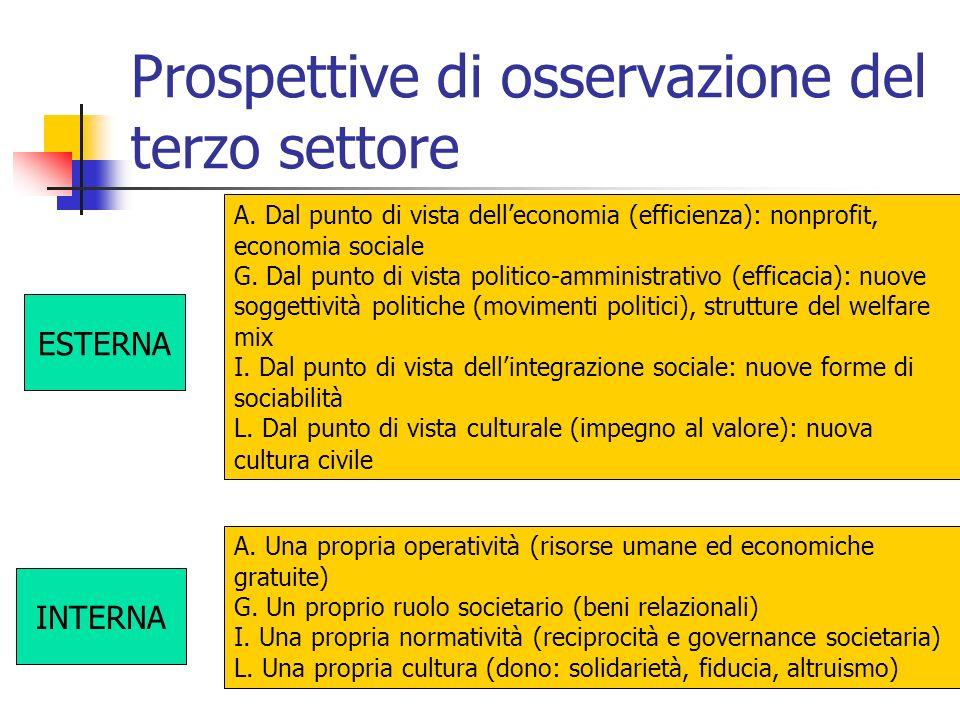 Prospettive di osservazione del terzo settore