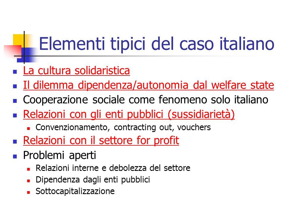 Elementi tipici del caso italiano