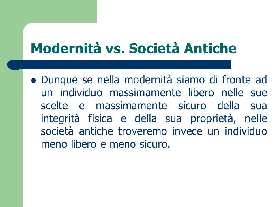 Modernità vs. Società Antiche