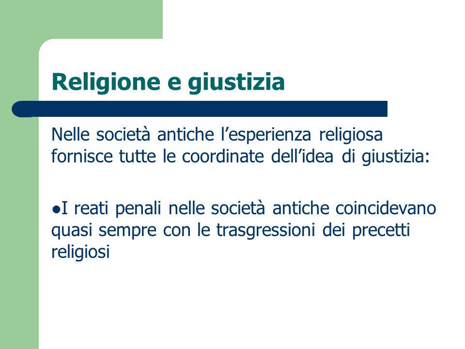 Religione e giustizia Nelle società antiche l'esperienza religiosa fornisce tutte le coordinate dell'idea di giustizia:
