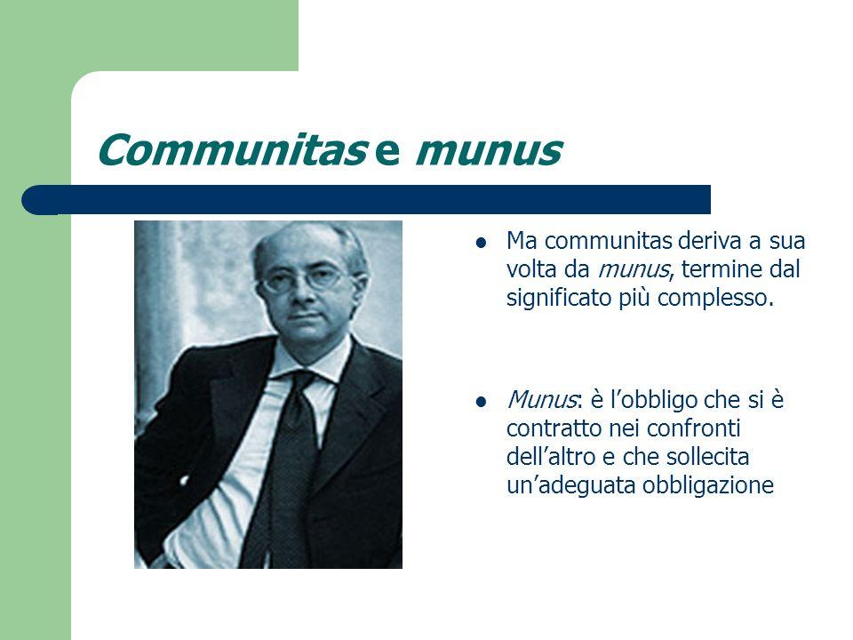 Communitas e munus Ma communitas deriva a sua volta da munus, termine dal significato più complesso.