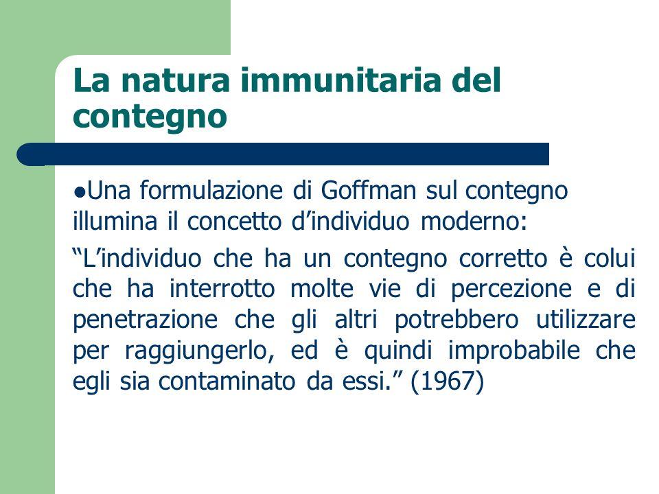 La natura immunitaria del contegno