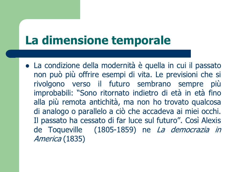 La dimensione temporale