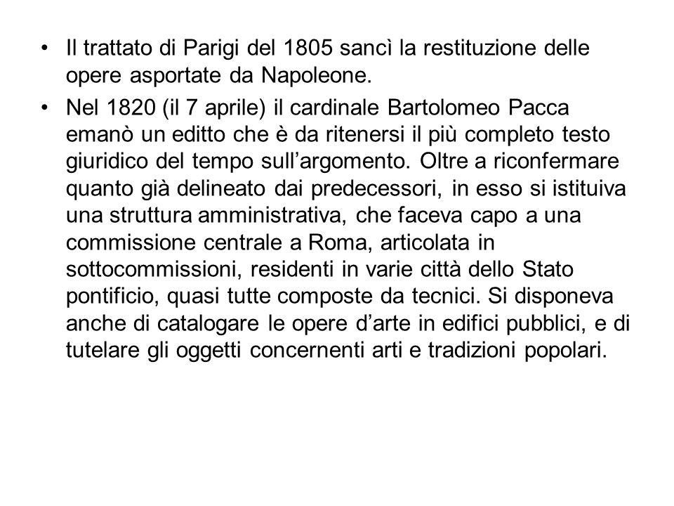Il trattato di Parigi del 1805 sancì la restituzione delle opere asportate da Napoleone.