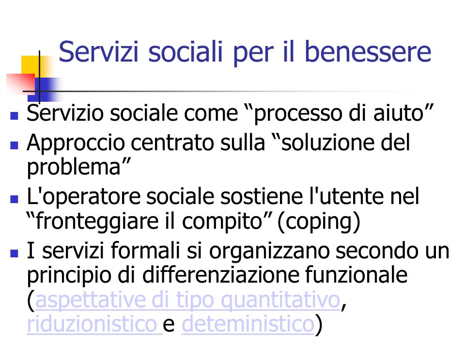Servizi sociali per il benessere