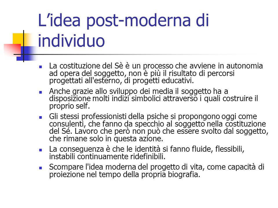 L'idea post-moderna di individuo