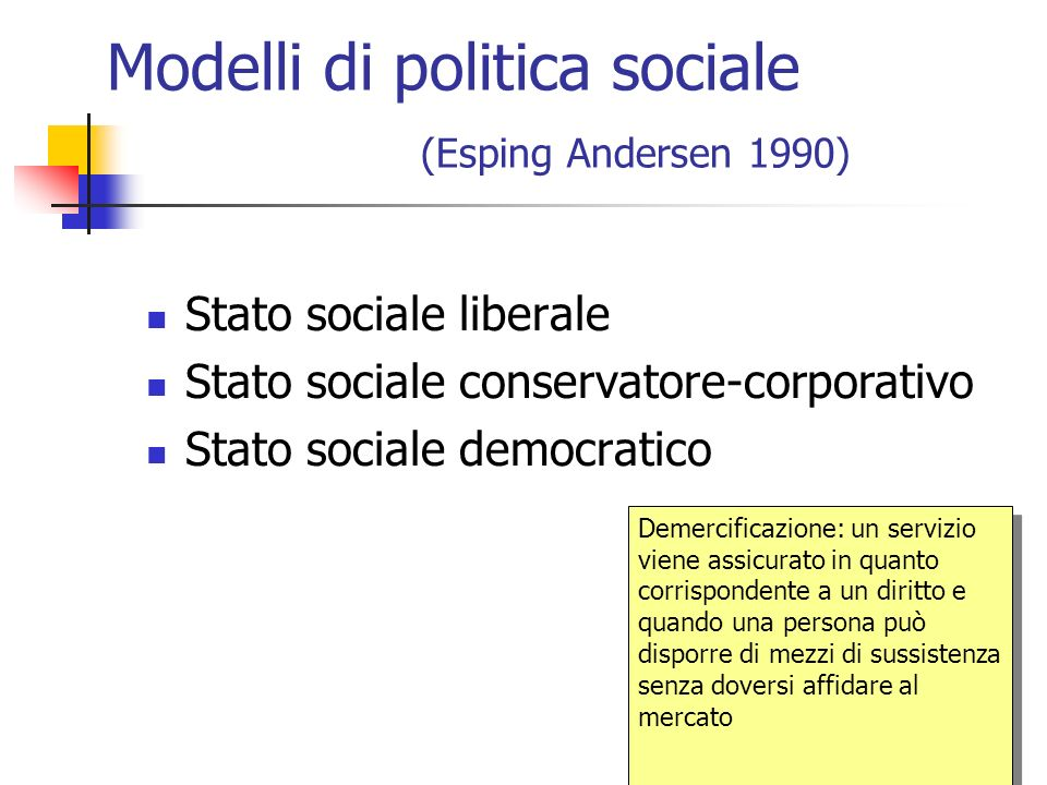 Modelli di politica sociale (Esping Andersen 1990)