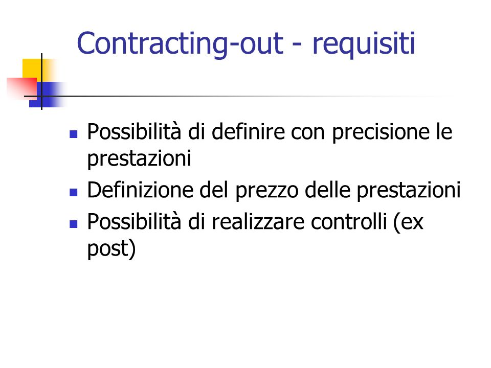 Contracting-out - requisiti