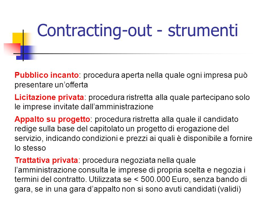 Contracting-out - strumenti