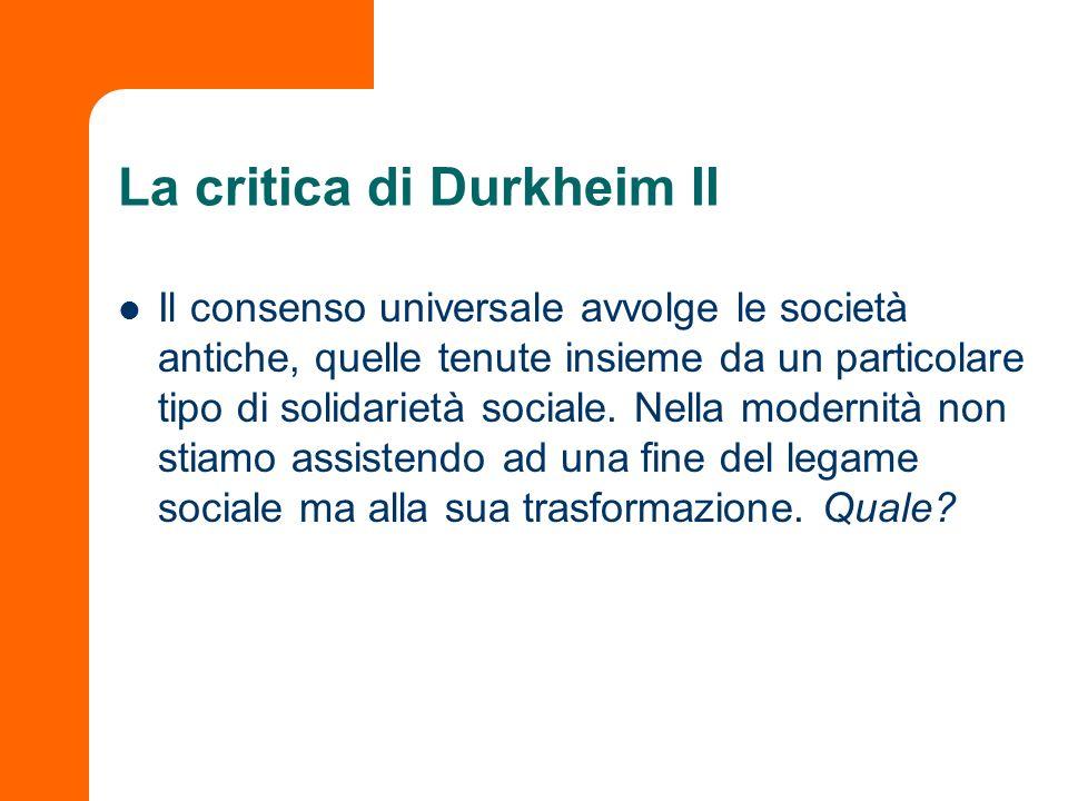 La critica di Durkheim II