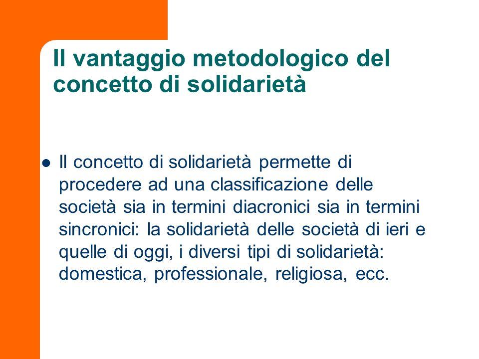 Il vantaggio metodologico del concetto di solidarietà