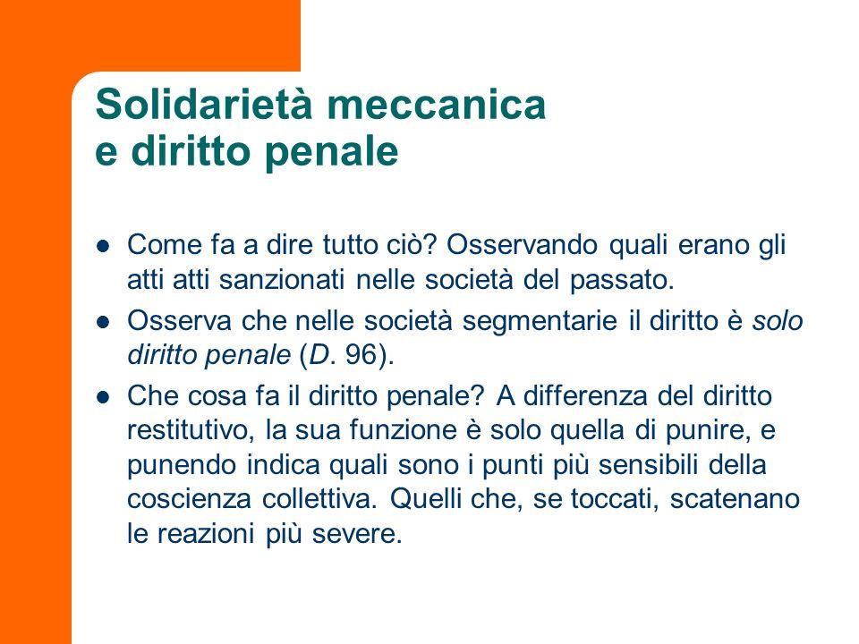 Solidarietà meccanica e diritto penale