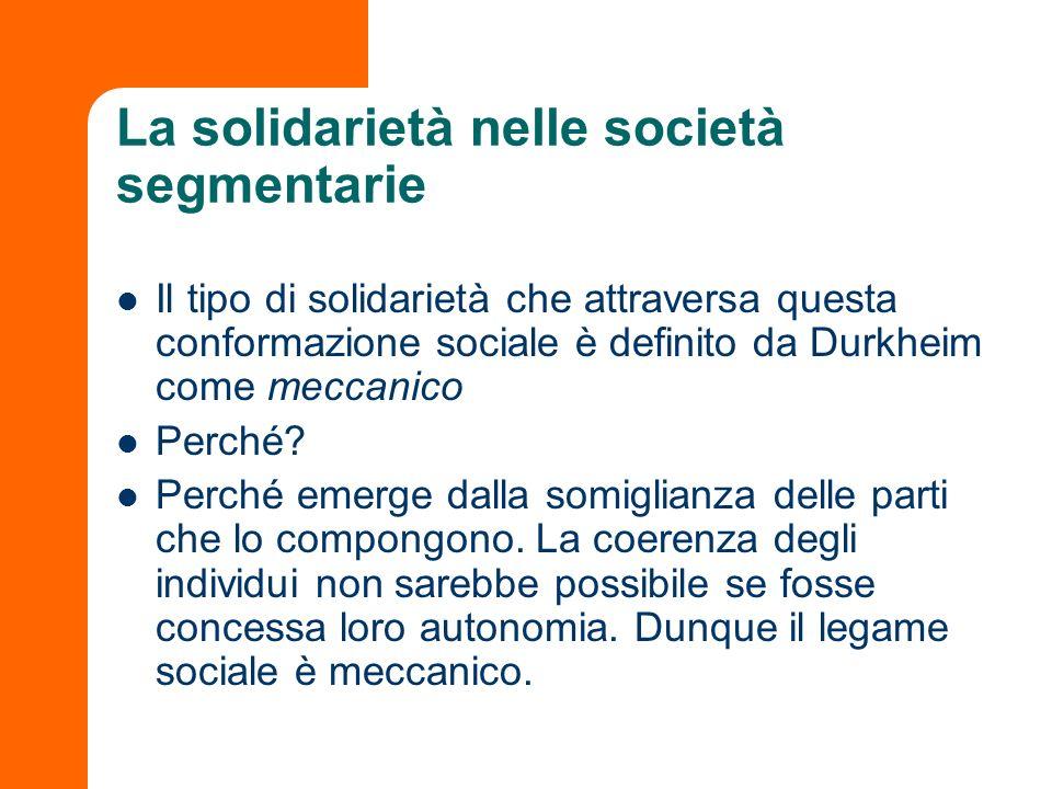 La solidarietà nelle società segmentarie