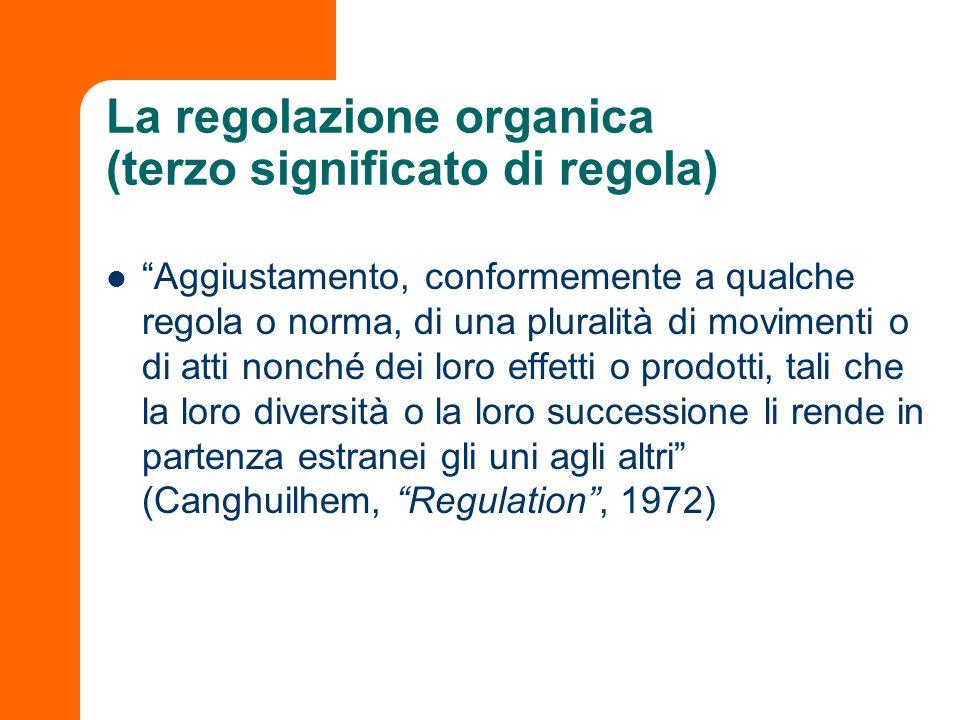 La regolazione organica (terzo significato di regola)