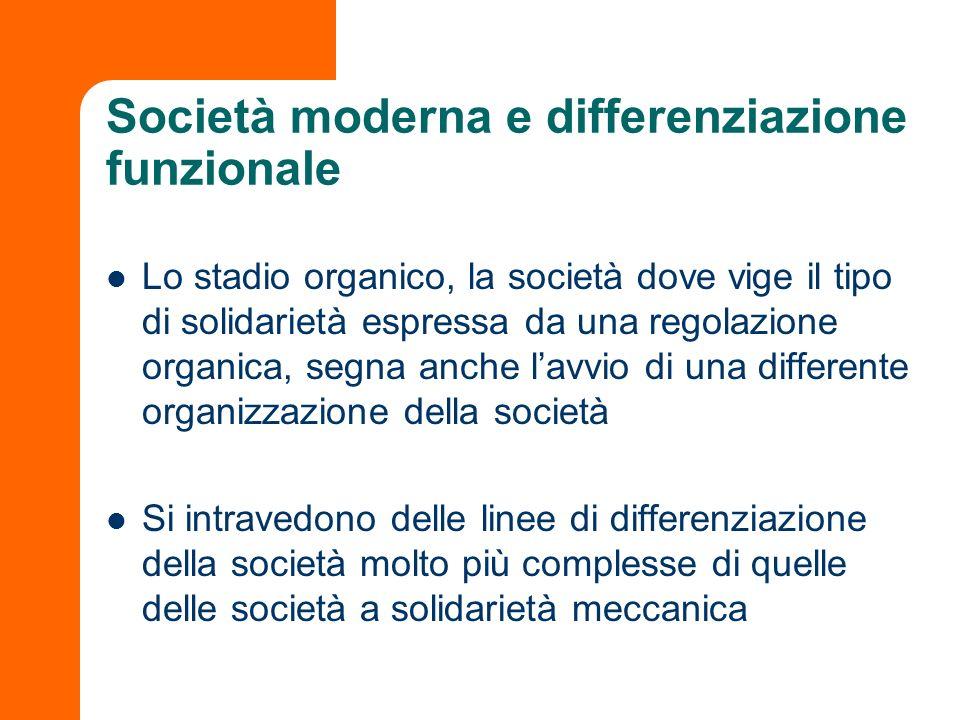 Società moderna e differenziazione funzionale
