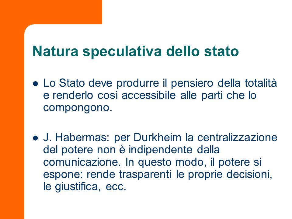Natura speculativa dello stato