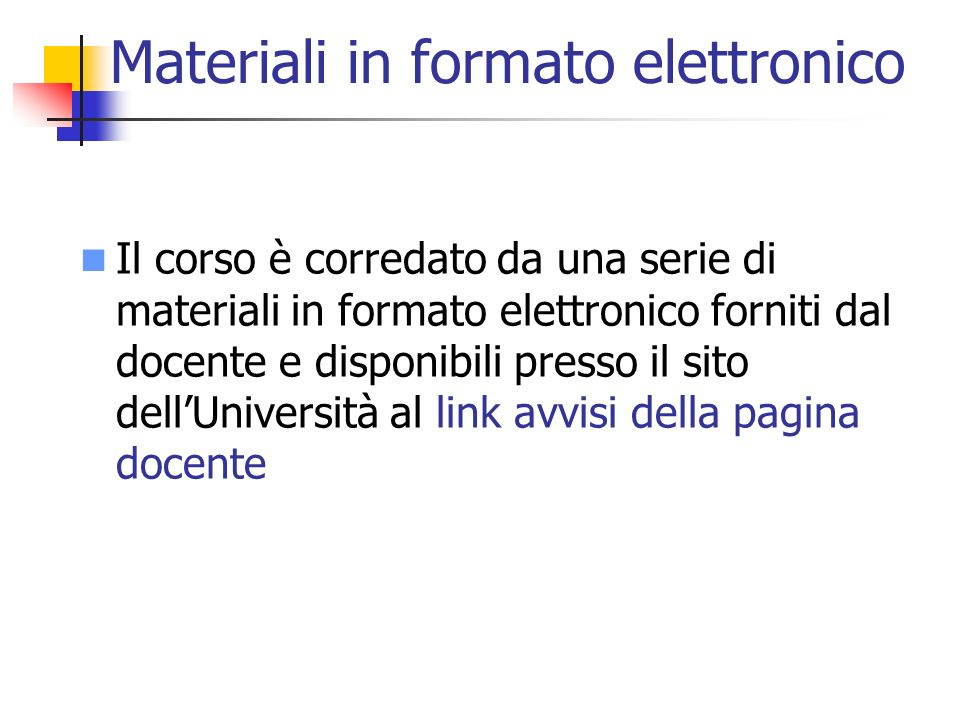 Materiali in formato elettronico