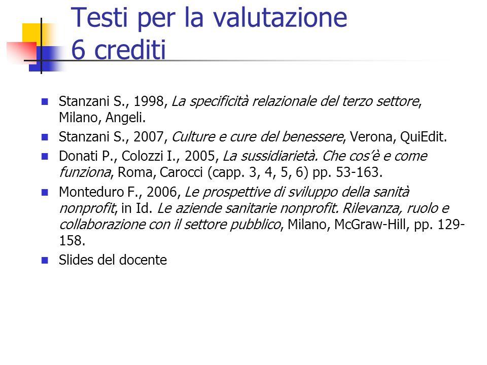Testi per la valutazione 6 crediti