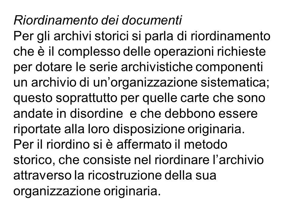Riordinamento dei documenti