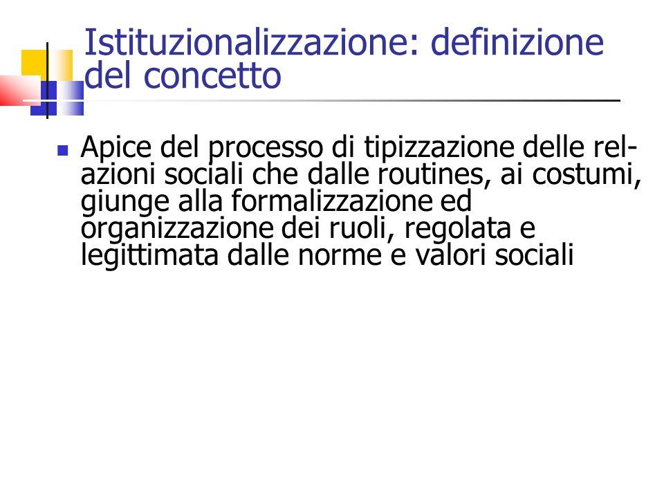 Istituzionalizzazione: definizione del concetto