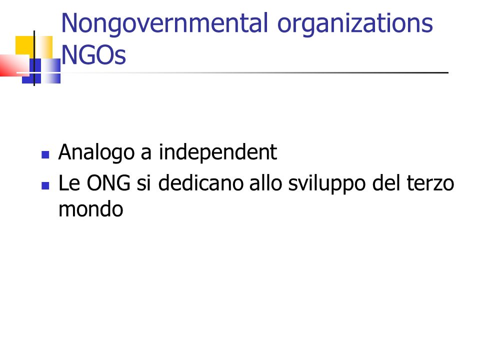Nongovernmental organizations NGOs