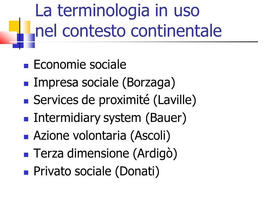 La terminologia in uso nel contesto continentale
