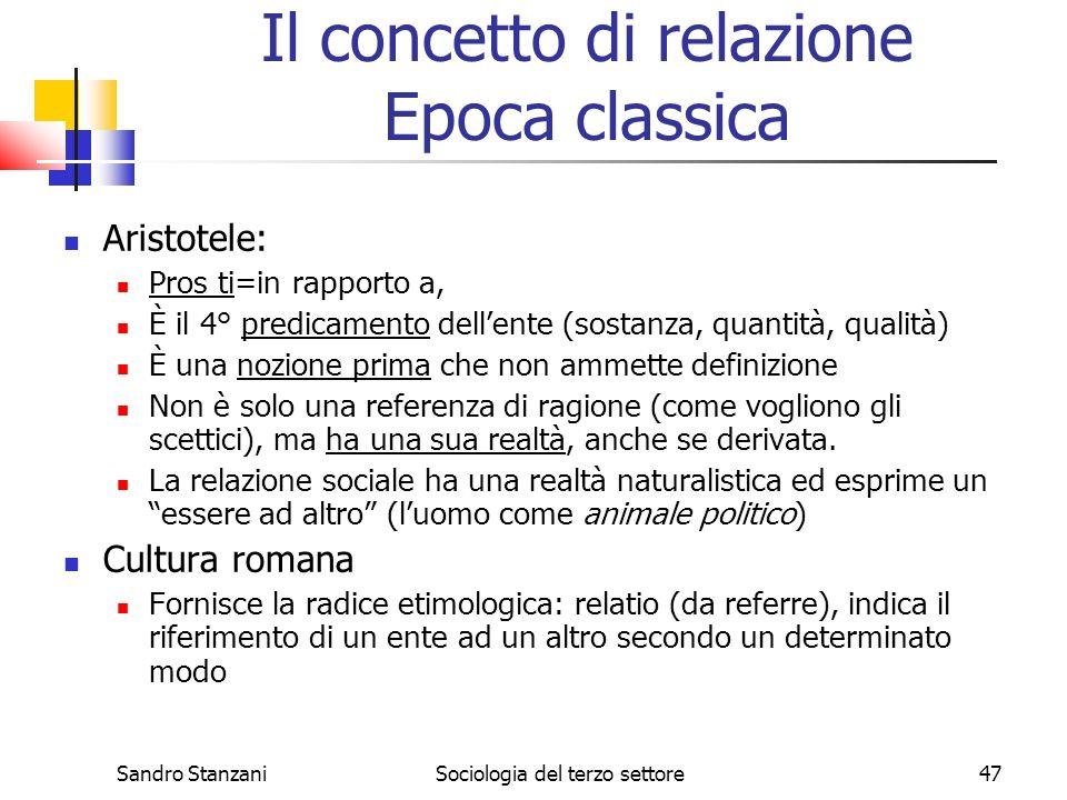 Il concetto di relazione Epoca classica