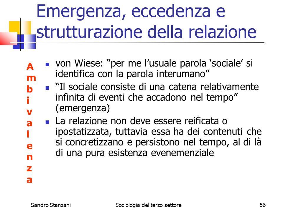 Emergenza, eccedenza e strutturazione della relazione