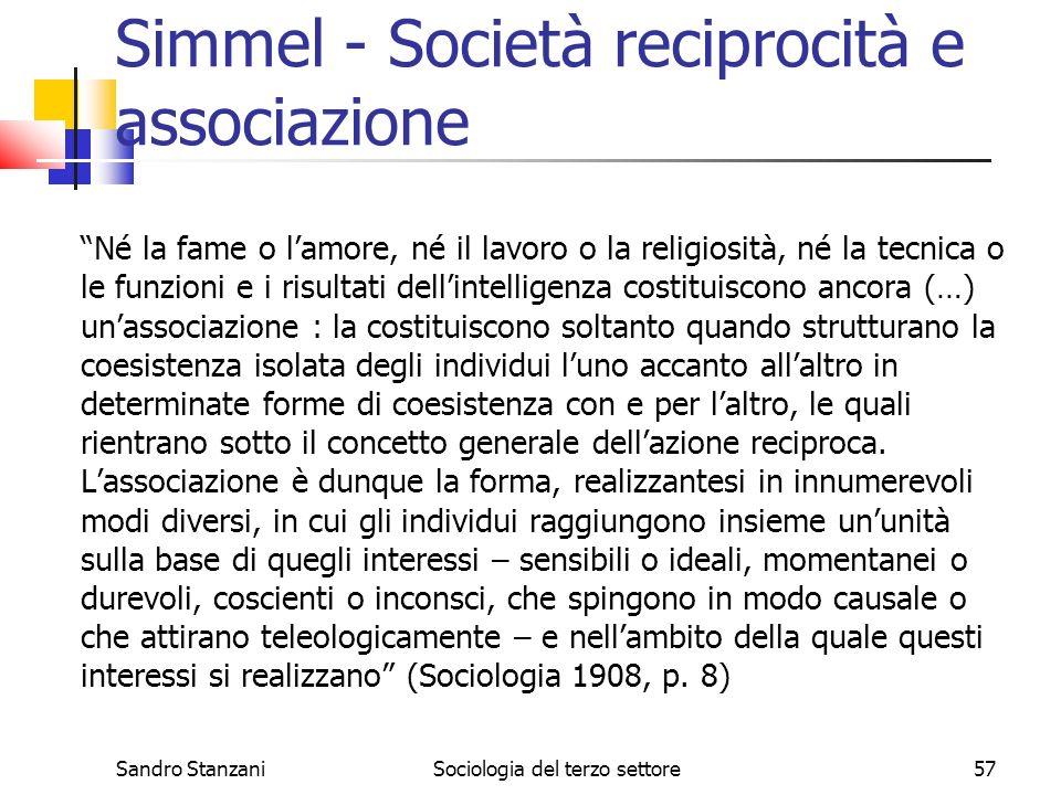 Simmel - Società reciprocità e associazione