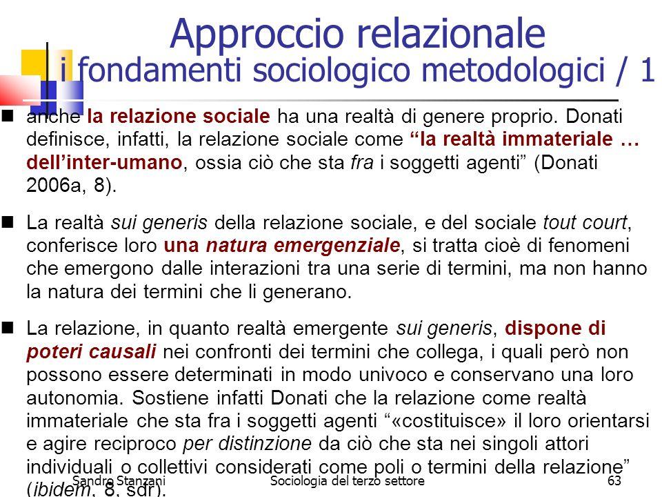 Approccio relazionale i fondamenti sociologico metodologici / 1