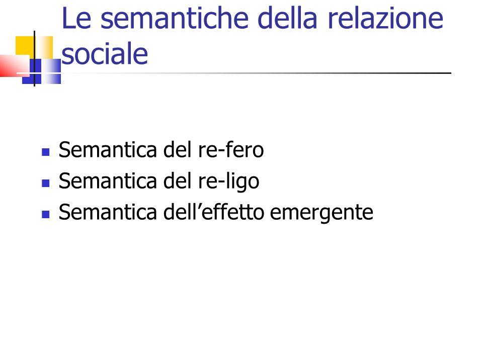 Le semantiche della relazione sociale