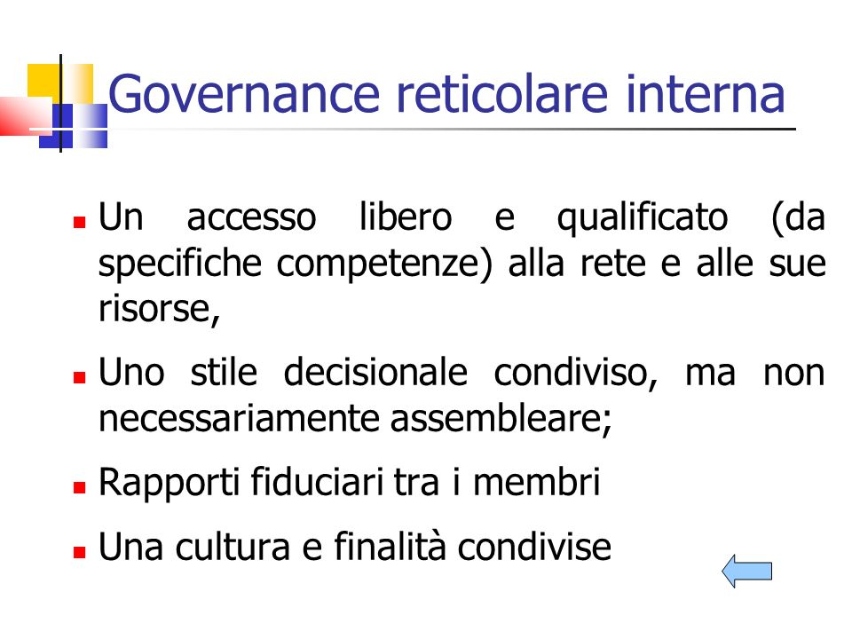 Governance reticolare interna