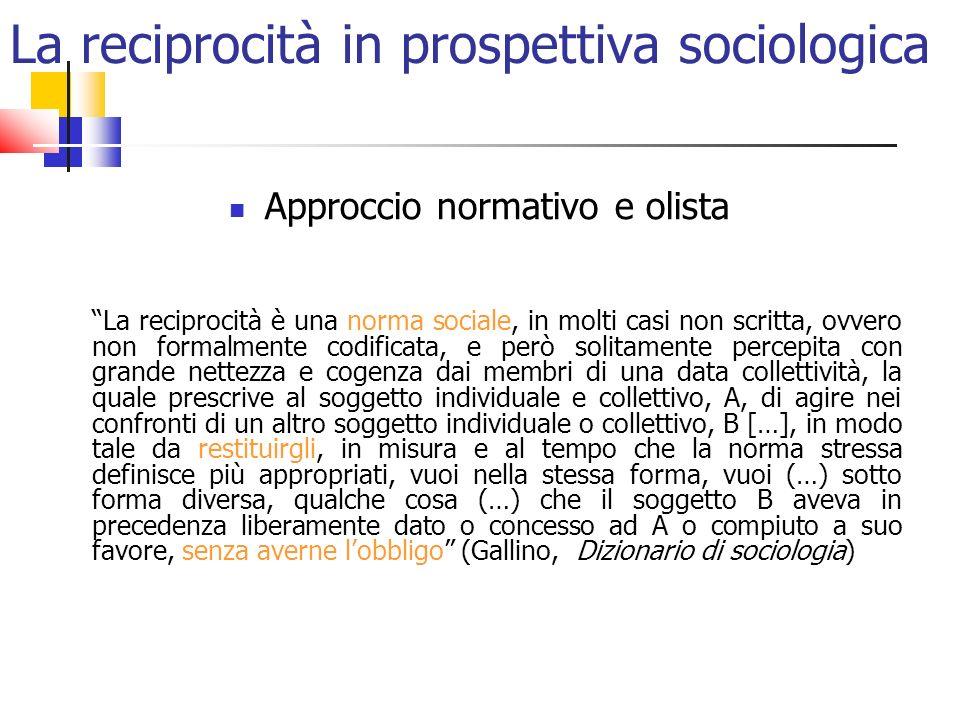 La reciprocità in prospettiva sociologica