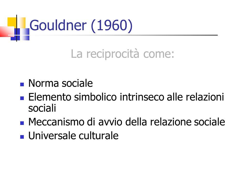 Gouldner (1960) La reciprocità come: Norma sociale