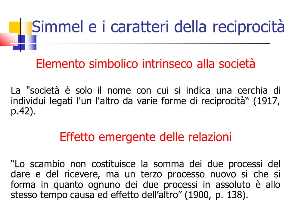 Simmel e i caratteri della reciprocità
