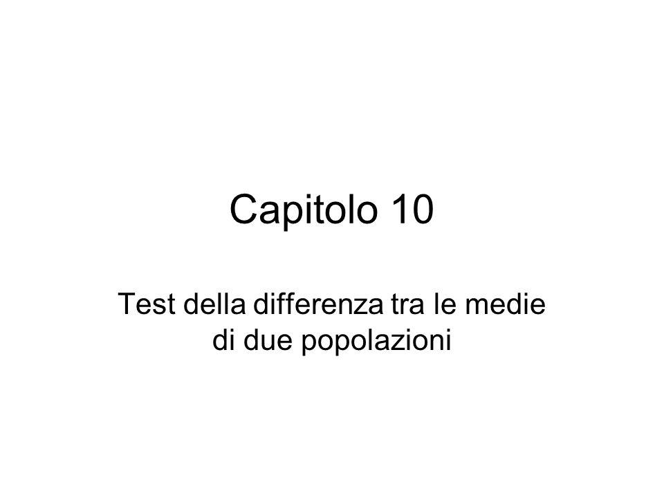 Test della differenza tra le medie di due popolazioni