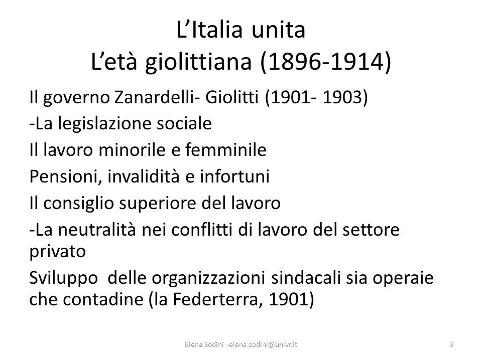 L'Italia unita L'età giolittiana (1896-1914)