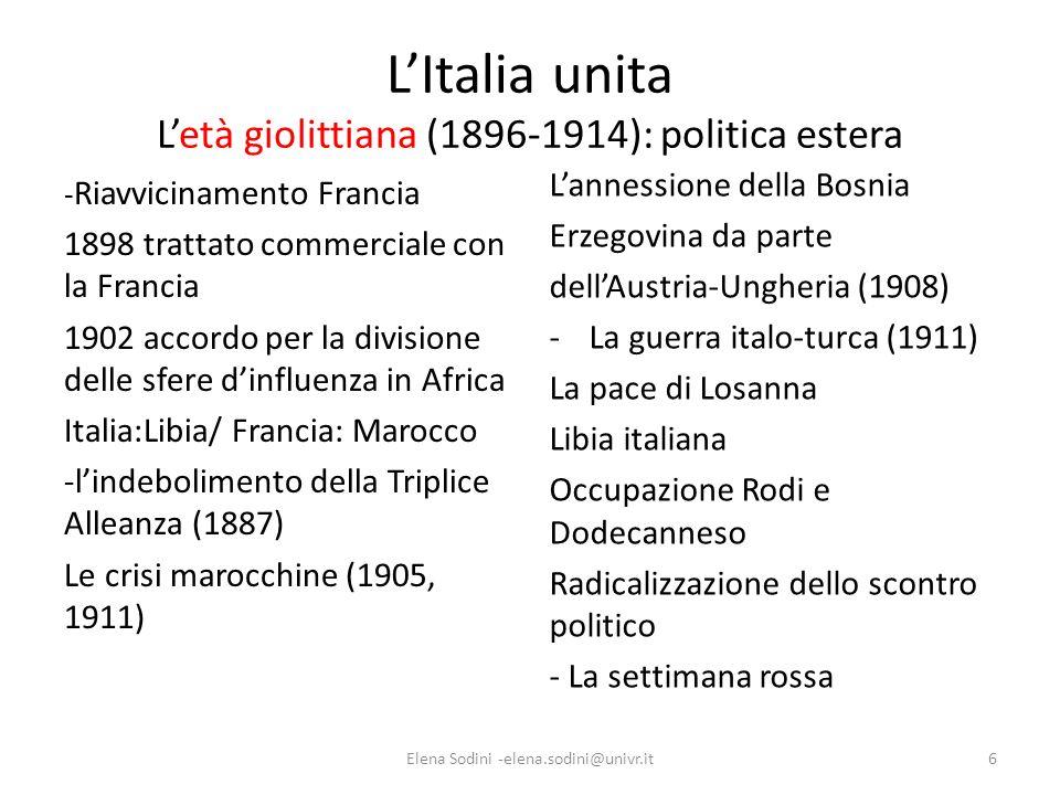 L'Italia unita L'età giolittiana (1896-1914): politica estera