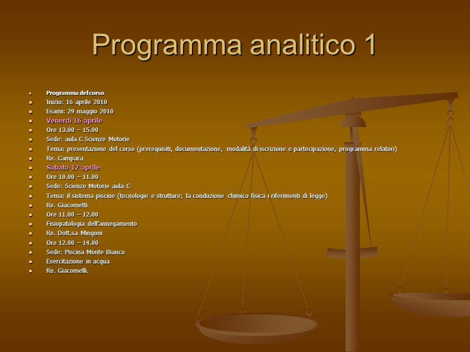Programma analitico 1 Inizio: 16 aprile 2010 Esami: 29 maggio 2010