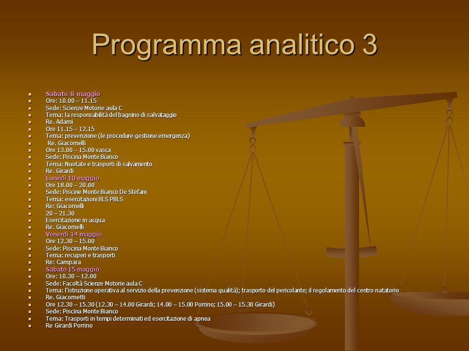 Programma analitico 3 Sabato 8 maggio Ore: 10.00 – 11.15