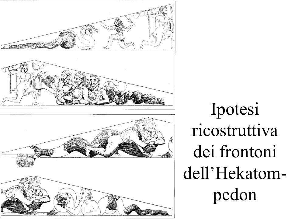 Ipotesi ricostruttiva dei frontoni dell'Hekatom-pedon
