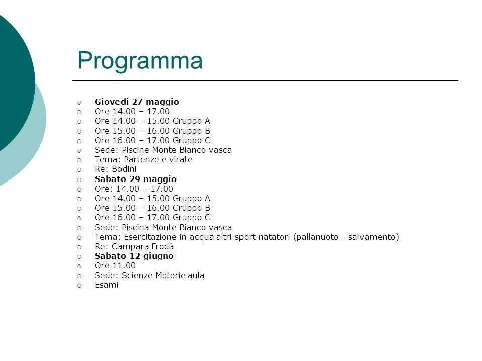 Programma Giovedi 27 maggio Ore 14.00 – 17.00