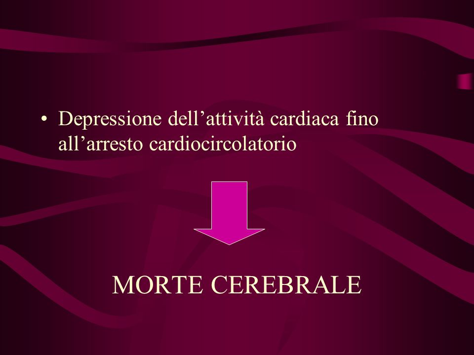 Depressione dell'attività cardiaca fino all'arresto cardiocircolatorio