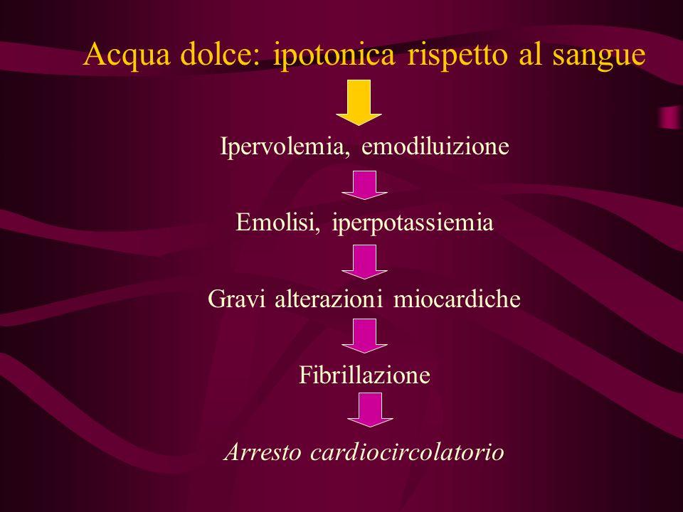 Acqua dolce: ipotonica rispetto al sangue