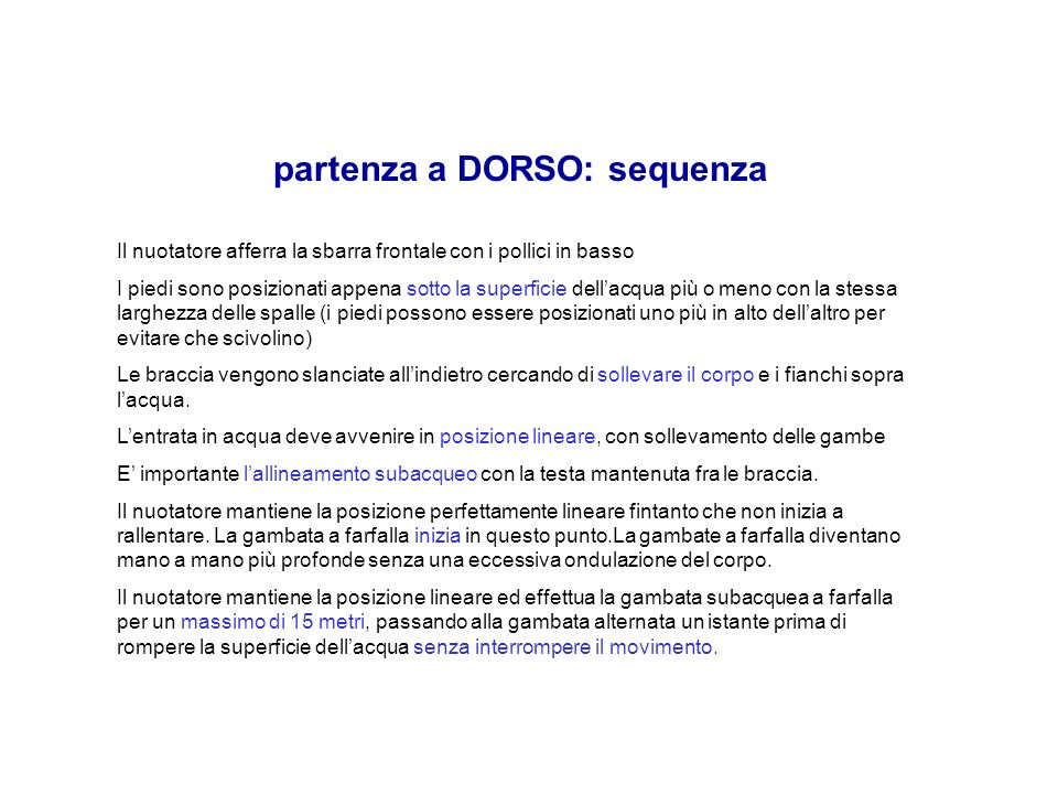 partenza a DORSO: sequenza