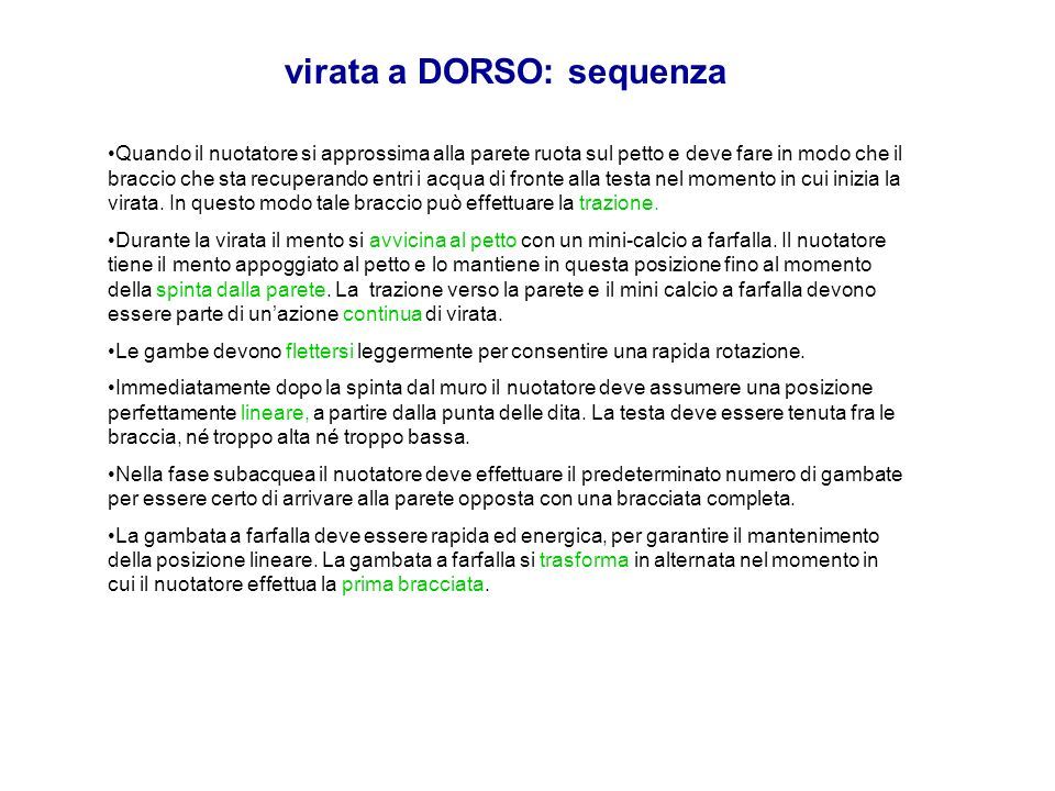 virata a DORSO: sequenza