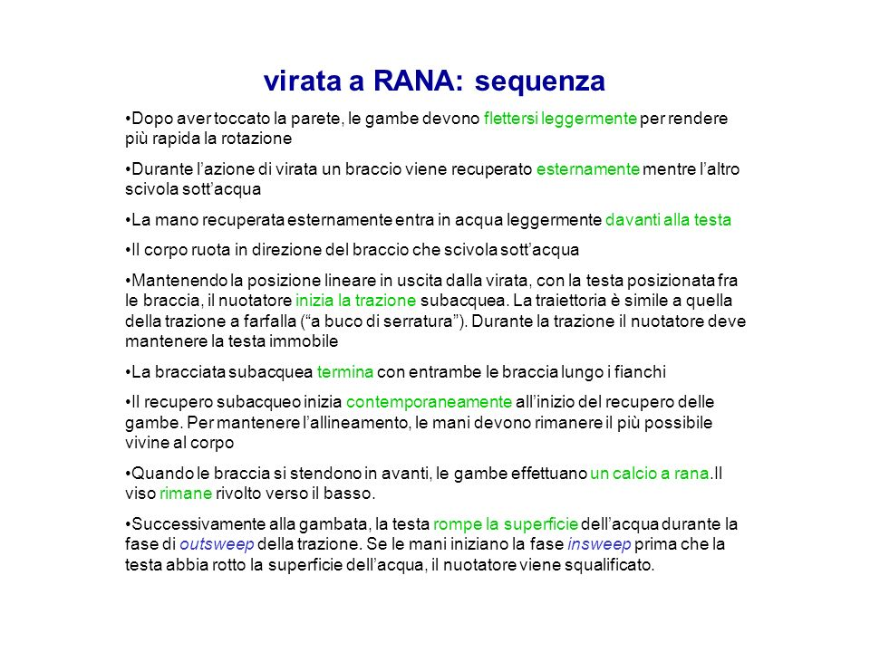 virata a RANA: sequenza