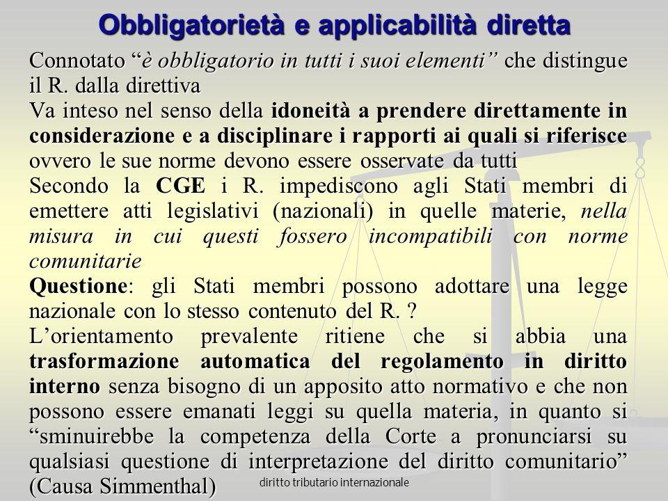 Obbligatorietà e applicabilità diretta