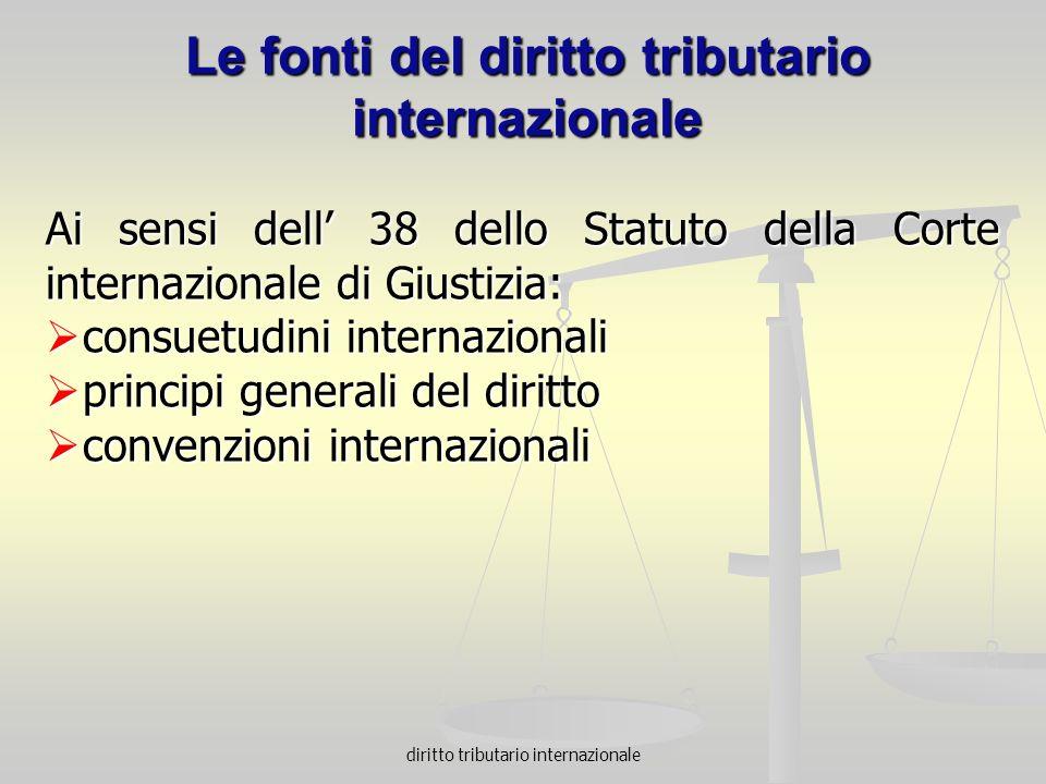 Le fonti del diritto tributario internazionale