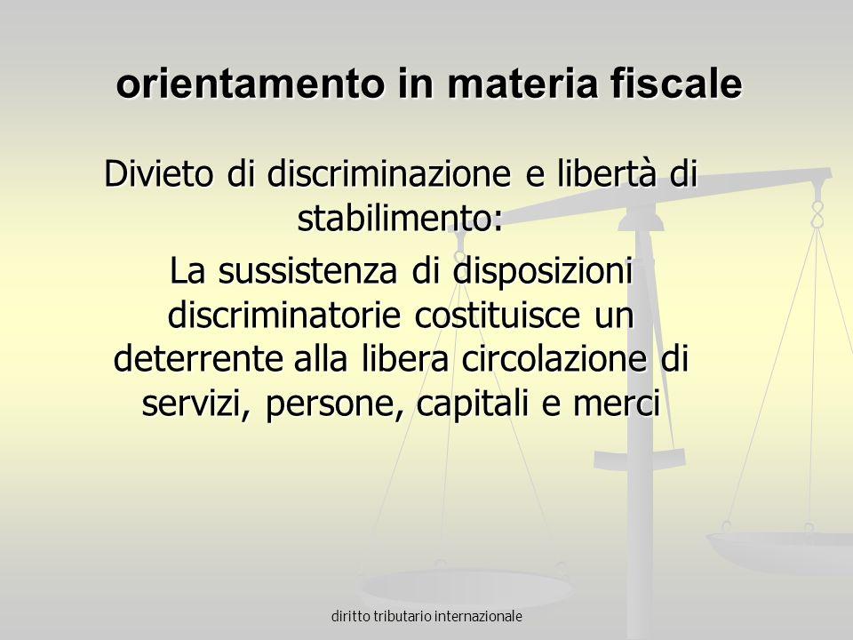 orientamento in materia fiscale